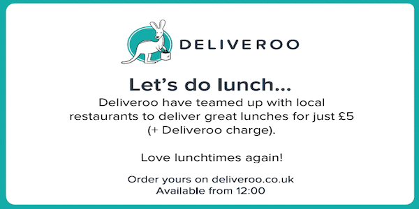 Deliveroo: Lunch to your desk from £5