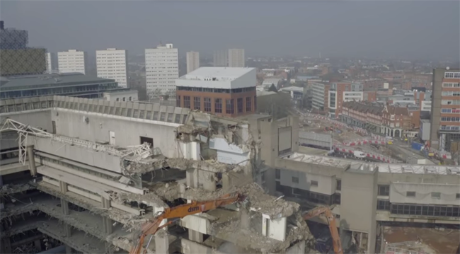 Incredible Drone Footage Shows Demolition of Central Library